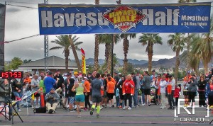 Jen & I crossing the Havasu Half Marathon Finish Line