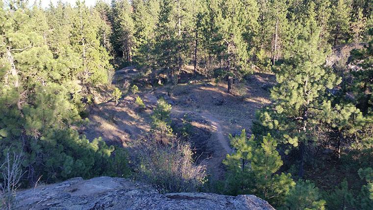 Dishman Hills Conservancy Area - Nimbus Knob Trail looking down on the lower trail