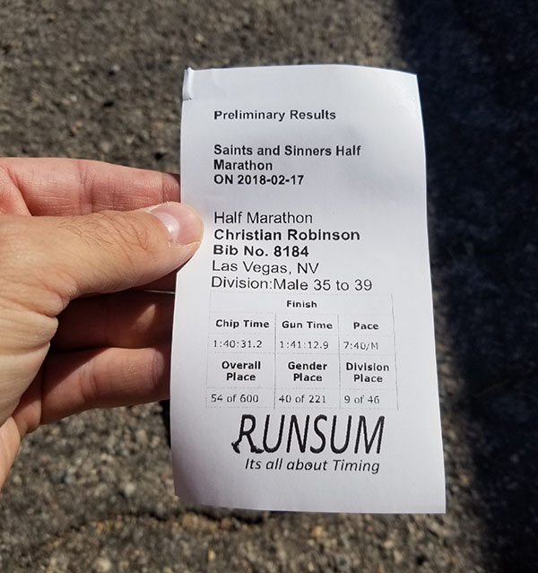 Race Timing Slip - Saints & Sinners Half Marathon Race Report