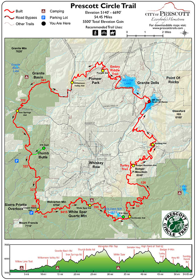 Map for the Whiskey Basin 88k on the Prescott Circle Trail - Chris-R.net